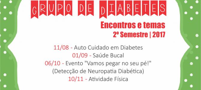 Confira as datas dos encontros do Grupo de Diabetes   2º Semestre de 2017
